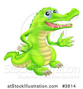 Vector Illustration of a Presenting Green Crocodile by AtStockIllustration