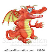 Vector Illustration of a Presenting Red Dragon by AtStockIllustration