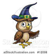 Vector Illustration of a Presenting Witch Owl Wearing a Hat by AtStockIllustration