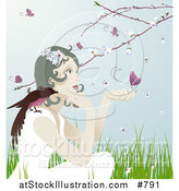 Vector Illustration of a Pretty Gentle Woman with a Bird on Her Shoulder and a Butterfly on Her Hand, Sitting Outdoors in Spring Time by AtStockIllustration