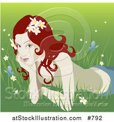 Vector Illustration of a Pretty Organic Red Haired Woman Lying in the Grass by AtStockIllustration