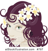 Vector Illustration of a Pretty Red Haired Woman Wearing Frangipani Flowers in Her Hair by AtStockIllustration