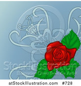 Vector Illustration of a Pretty Red Rose Background by AtStockIllustration