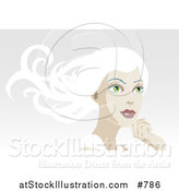 Vector Illustration of a Pretty White Haired Woman Looking off into the Distance by AtStockIllustration