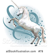 Vector Illustration of a Pretty White Unicorn Rearing up on Its Hind Legs by AtStockIllustration