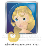 Vector Illustration of a Pretty Woman with Blond Hair and Blue Eyes by AtStockIllustration