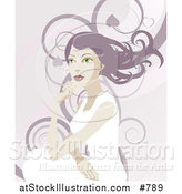 Vector Illustration of a Pretty Woman with Long Hair, Looking off into the Distance over a Background of Swirls by AtStockIllustration