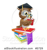 Vector Illustration of a Professor Owl Reading on a Stack of Books by AtStockIllustration