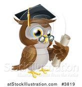 Vector Illustration of a Professor Owl Wearing a Graduation Cap and Holding a Certificate by AtStockIllustration