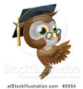 Vector Illustration of a Professor Owl Wearing a Graduation Cap and Presenting a Sign by AtStockIllustration