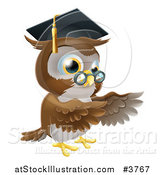 Vector Illustration of a Professor Owl Wearing a Graduation Cap and Presenting by AtStockIllustration