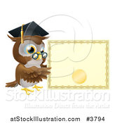Vector Illustration of a Professor Owl with a Diploma and Graduation Cap by AtStockIllustration