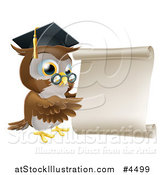 Vector Illustration of a Professor Owl with Glasses and Graduation Cap, Pointing to a Scroll by AtStockIllustration