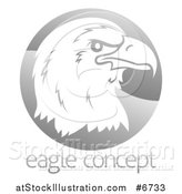 Vector Illustration of a Profiled Bald Eagle or Falcon Head on a Shiny Gray Circle Above Sample Text by AtStockIllustration