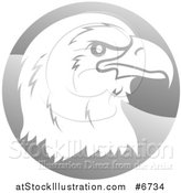 Vector Illustration of a Profiled Bald Eagle or Falcon Head on a Shiny Gray Circle by AtStockIllustration