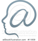 Vector Illustration of a Profiled Head with an Email Arobase at Symbol by AtStockIllustration
