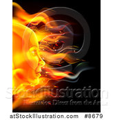 Vector Illustration of a Profiled Woman's Face Made of Fire, over Black by AtStockIllustration