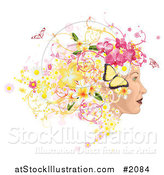 Vector Illustration of a Profiled Woman's Face with Floral, Butterfly and Grunge Hair by AtStockIllustration