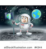 Vector Illustration of a Proud Astronaut Planting an Earth Flag on the Moon by AtStockIllustration