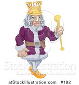 Vector Illustration of a Proud King in a Purple Robe, Holding a Staff and Wearing a Crown by AtStockIllustration