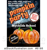 Vector Illustration of a Pumpkin Halloween Party Invitation Design for a Children's School, with Sample Text by AtStockIllustration