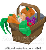 Vector Illustration of a Pumpkin, Squash, Eggplant, Tomatoe, Lettuce, Onion and Carrots in a Basket by AtStockIllustration