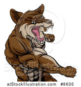 Vector Illustration of a Punching Brown Muscular Coyote Man by AtStockIllustration