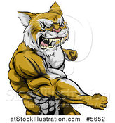 Vector Illustration of a Punching Muscular Cougar Man Mascot by AtStockIllustration