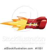 Vector Illustration of a Punching Red Boxing Glove on Fire by AtStockIllustration