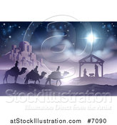 Vector Illustration of a Purple and Blue Toned Nativity Scene of Baby Jesus in the Manger with the Wise Men and Star of Bethlehem near the City by AtStockIllustration