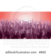 Vector Illustration of a Purple Group of Silhouetted Hands in a Crowd by AtStockIllustration