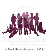 Vector Illustration of a Purple Group of Silhouetted People Hanging out in a Crowd by AtStockIllustration