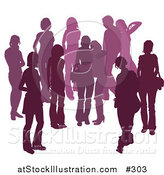 Vector Illustration of a Purple Group of Silhouetted People Hanging out in a Crowd, Two Friends Embracing in the Middle by AtStockIllustration