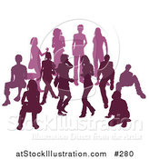 Vector Illustration of a Purple Group of Silhouetted People in a Crowd by AtStockIllustration