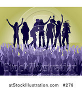 Vector Illustration of a Purple Group of Silhouetted Women Raising Their Arms and Celebrating on Stage at a Concert by AtStockIllustration
