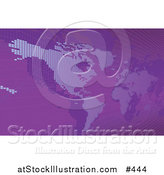 Vector Illustration of a Purple Map of the Americas and Europe by AtStockIllustration