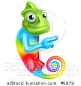 Vector Illustration of a Rainbow Chameleon Lizard Pointing Around a Sign by AtStockIllustration
