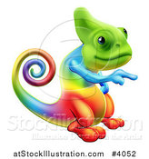 Vector Illustration of a Rainbow Chameleon Lizard Pointing by AtStockIllustration