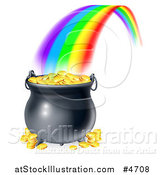 Vector Illustration of a Rainbow Ending at a Pot of Gold by AtStockIllustration
