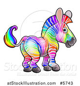 Vector Illustration of a Rainbow Striped Zebra by AtStockIllustration