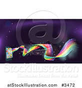 Vector Illustration of a Rainbow Wave Flowing from a Cell Phone with Apps by AtStockIllustration