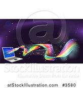 Vector Illustration of a Rainbow Wave Flowing from a Laptop Computer by AtStockIllustration