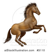 Vector Illustration of a Rearing Brown Horse by AtStockIllustration