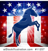 Vector Illustration of a Rearing Democratic Donkey over an American Flag Themed Burst by AtStockIllustration