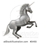 Vector Illustration of a Rearing Silver Unicorn by AtStockIllustration