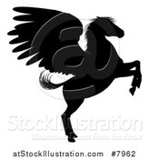 Vector Illustration of a Rearing Winged Pegasus Horse by AtStockIllustration