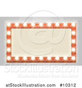 Vector Illustration of a Rectangular Retro Marquee Theater Sign with Light Bulbs on Gray by AtStockIllustration