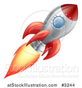 Vector Illustration of a Red and Metal Space Rocket Flying by AtStockIllustration