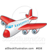Vector Illustration of a Red and White Passenger Airplane by AtStockIllustration