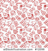 Vector Illustration of a Red and White Seamless Christmas Pattern by AtStockIllustration